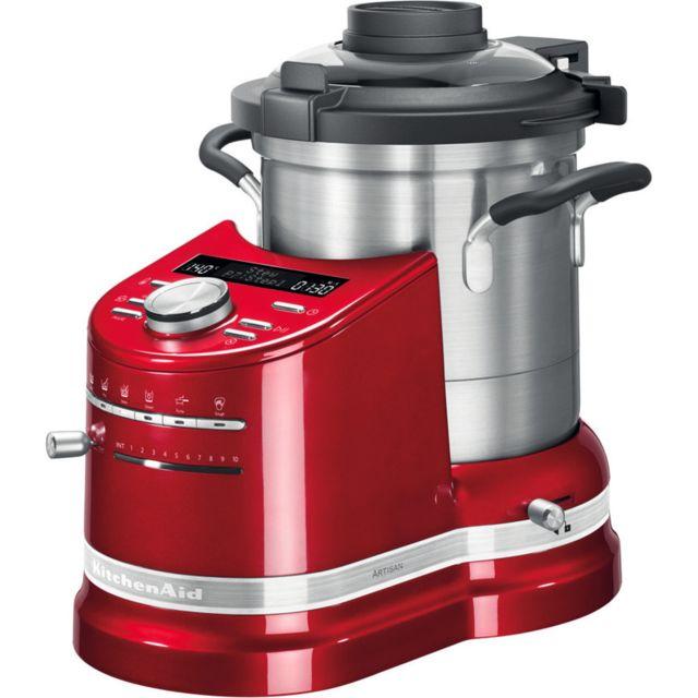Kitchenaid robot cuiseur tout en un de 4,5L 1500W rouge empire argent