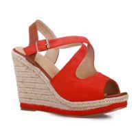 Lamodeuse - Sandales compensées rouge et camel