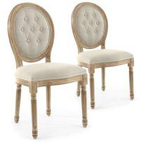 Lot de 2 chaises médaillon capitonnées Louis Xvi tissu Beige