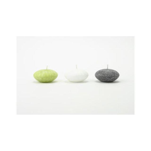 Comptoir Des Bougies Lot de 3 bougies flottantes parfumées Zen - Vert, ardoise et blanc