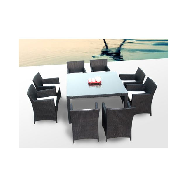Concept Usine - Salon De Jardin Table & 8 Fauteuils En Resine ...