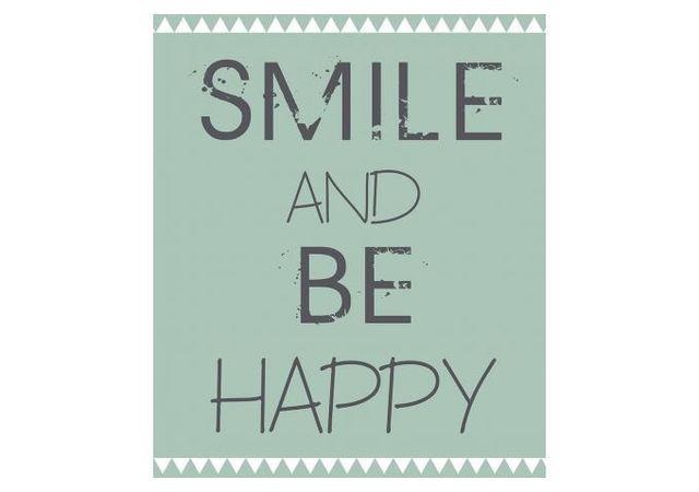 Declikdeco Tableau Impression Ecriture Coloris Pastel Smile Happy 40x50 Erai