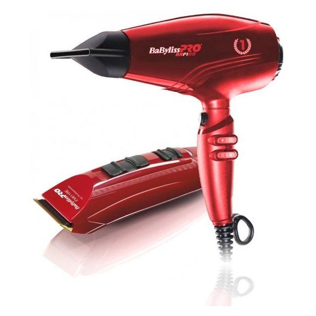 Babyliss Pack Sèche-cheveux Pro Rapido & Tondeuse Rouge Ferrari