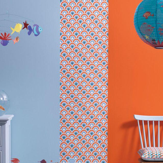 Little Big Room - Lé de papier peint décoratif intissé écume poisson ...