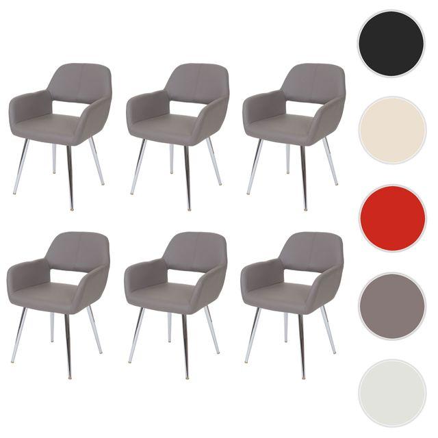6x chaise de salle à manger Altena, fauteuil, style rétro ~ similicuir, taupe
