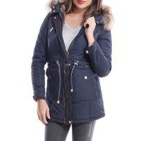 Lamodeuse - Manteau bi-matière à capuche bleu
