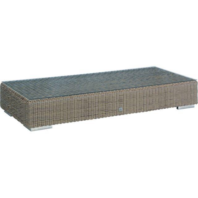Comforium Table basse de jardin 180x80 cm en résine tressée coloris pure + vitre incluse