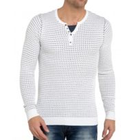 BLZ Jeans - Pull double col blanc pour homme