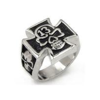 a3ac8a3ed9220 Universel - Bague croix de malte et crane incrusté 13 9us chevaliere homme