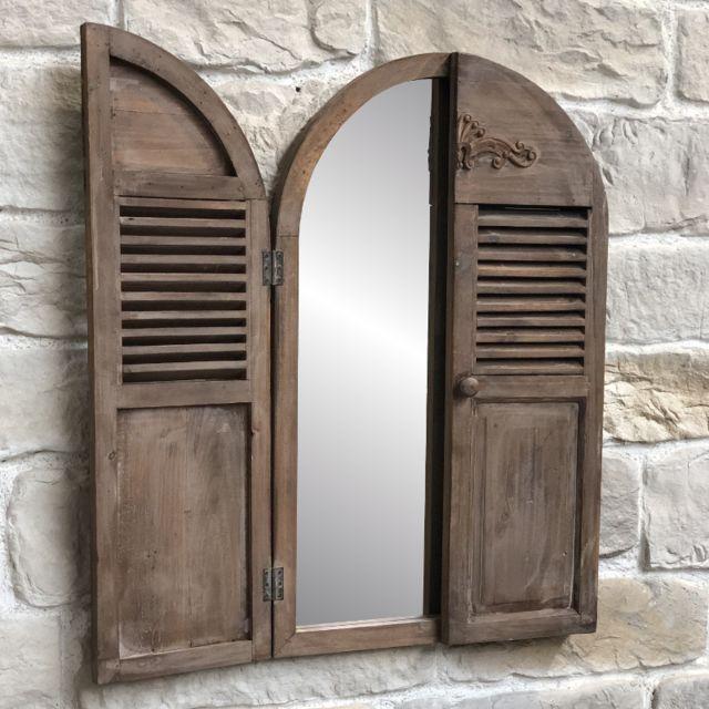 Miroir Fenêtre Volet Avec Prise Mural En Bois 89 Cm