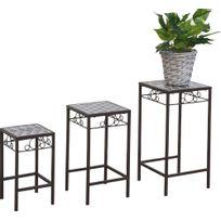 HEVEA JARDIN - Table gigogne en fer forgé et mosaique Lot de 3