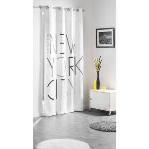 douceur d 39 interieur rideau oeillets city graphik 140x260cm gris blanc pas cher achat. Black Bedroom Furniture Sets. Home Design Ideas
