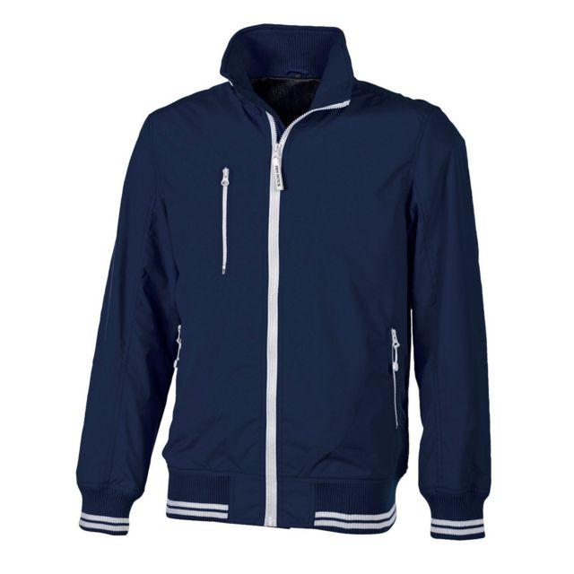 Bicolore Blouson Bordure Couleur Bleu Fashion Contrasté Cuir Zip 5PnHxAXq
