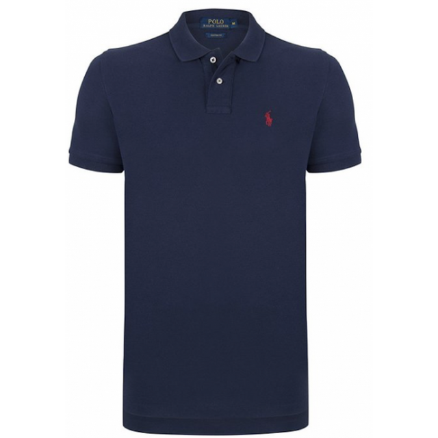 a49dd8736114d Ralph Lauren - Polo Custom-fit Bleu Navy Poney Rouge - pas cher ...