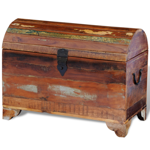 Rocambolesk - Superbe Coffre de stockage en bois solide recyclé Neuf