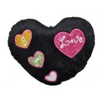Sans Marque - Peluche coeur noir brillant 20 cm