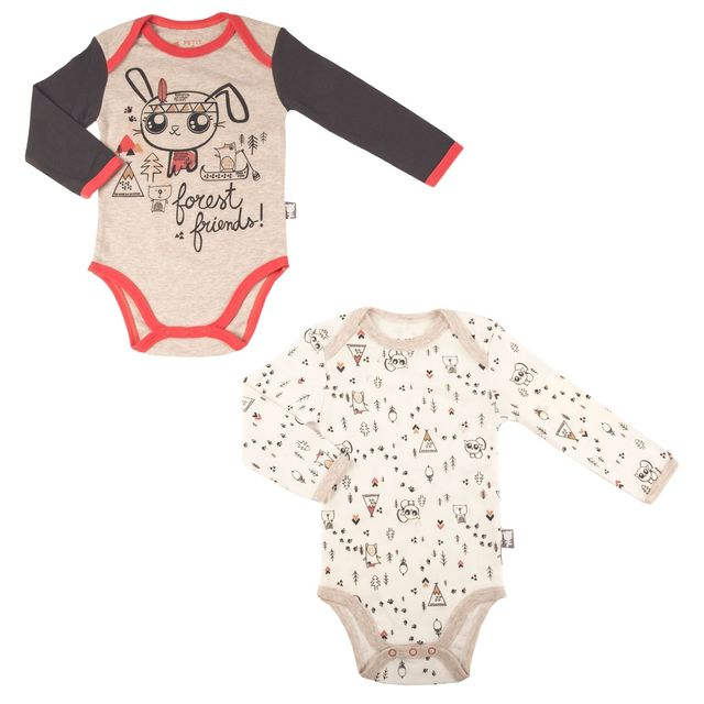 Petit Beguin - Lot de 2 bodies bébé garçon manches longues Forest Friend -  Taille - 24 mois 92 cm - pas cher Achat   Vente Sous-vêtements 9a17fb7f4ad