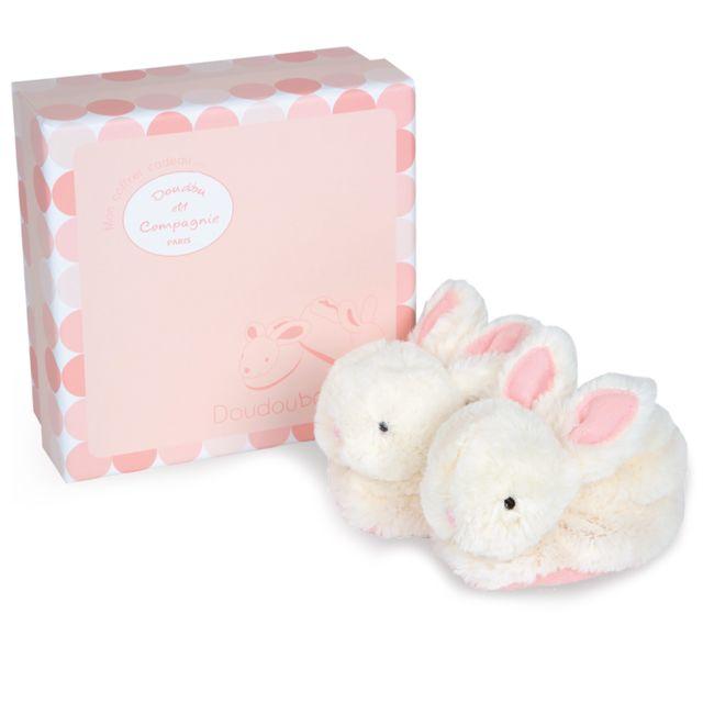 Doudou Et Compagnie Coffret lapin bonbon : Chaussons 0-6 mois roses