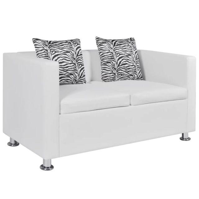 VIDAXL Canapé à 2 places Cuir synthétique Blanc - 242212 | Blanc