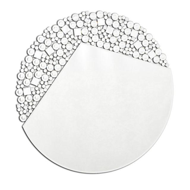 Dekoarte E069 - Miroir mural décoratif moderne, avec une forme circulaire avec des cristaux décoratifs, 90x90cm
