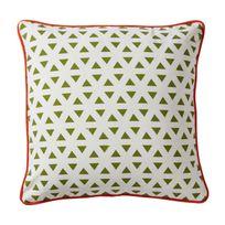 Pomax - Coussin 100% coton motif triangle vert/blanc 45x45cm Ethno