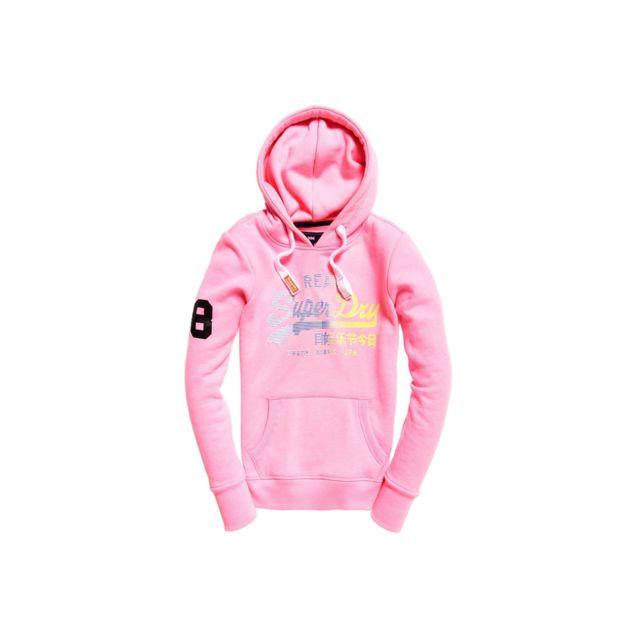 e3cd006452 Superdry - Sweat à Capuche Vintage Logo Stripe Pink - pas cher Achat /  Vente Sweat femme - RueDuCommerce