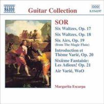 """- Fernando Sor - Intégrale de guitare : Valses opus 17 nos. 1 à 6, opus 18 nos. 1 à 6, Airs transcrits de la """"Flûte enchantée"""" opus 19 nos. 1 à 6, Introduction et thème varié opus 20, Les Adieux opus 21"""