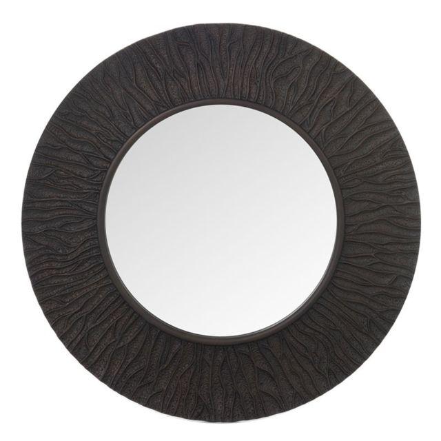 Tousmesmeubles Miroir nervures rond Simili cuir marron foncé - Canela