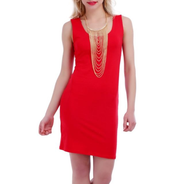 La Modeuse - Robe débardeur rouge moulante