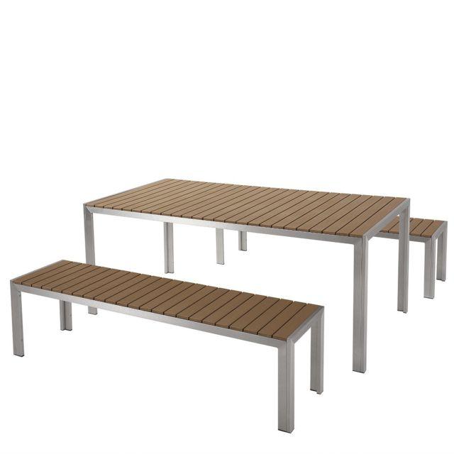 Table de jardin et deux bancs avec plateau en plastique marron 180 cm NARDO