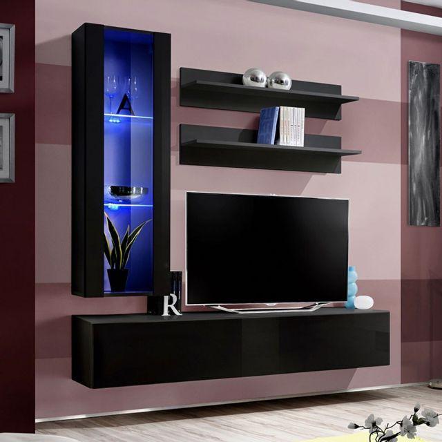 paris prix meuble tv mural design fly ii 170cm noir pas cher achat vente meubles tv hi. Black Bedroom Furniture Sets. Home Design Ideas