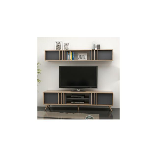 Homemania Meuble Tv Bren Moderne - avec Portes, Étagères - pour Salon - Noyer, Anthracite en Bois, 180 x 35 x 48 cm