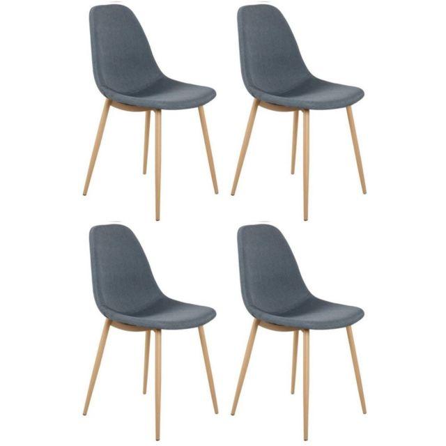 Inside 75 Lot De 4 Chaises Stockholm Design Scandinave Tissu Gris
