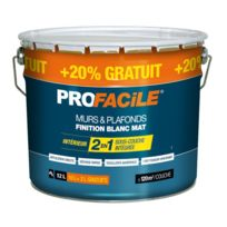 Profacile   Peinture 2en1 Direct Sans Sous Couche, Blanc Mat, Murs Et  Plafonds,