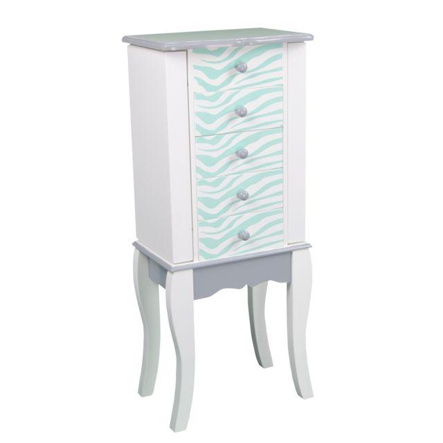 teamson kids teamson meuble bijoux armoire bijoux prsentoir commode bijou bois bleu blanc 2096
