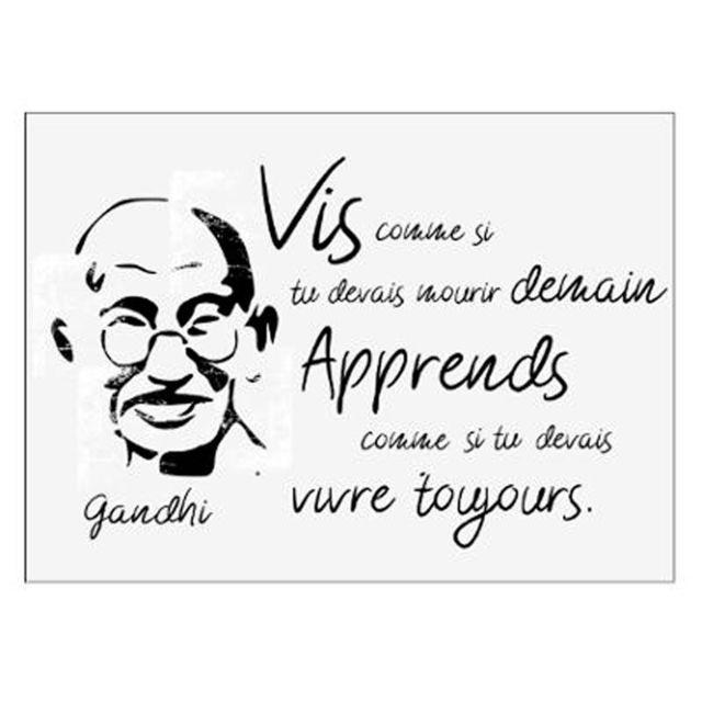 Sticker Mural Citation Gandhi 50x70cm Noir Blanc