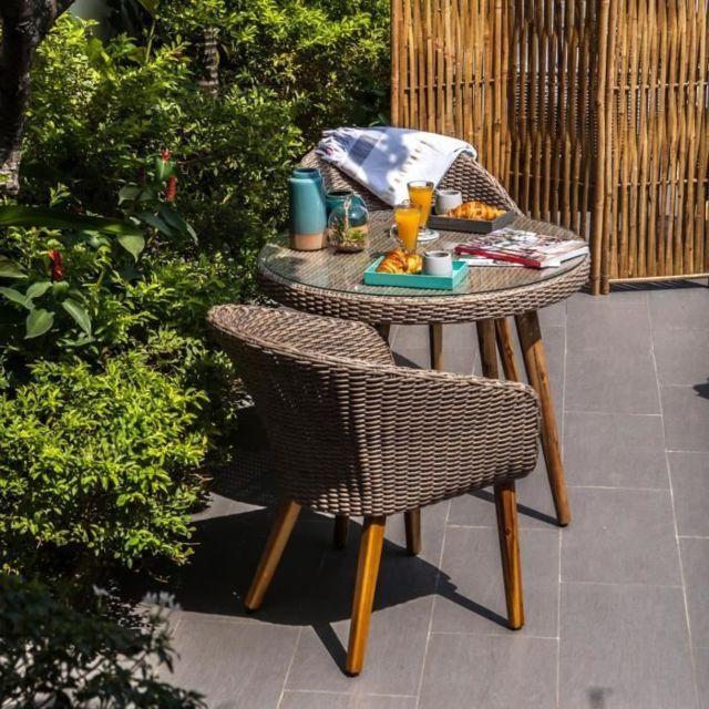 Salon De Jardin - Ensemble Table Chaise Fauteuil De Jardin Ensemble de  mobilier de jardin 2 places - 1 table et 2 fauteuils - Résine tréssée et  bois ...