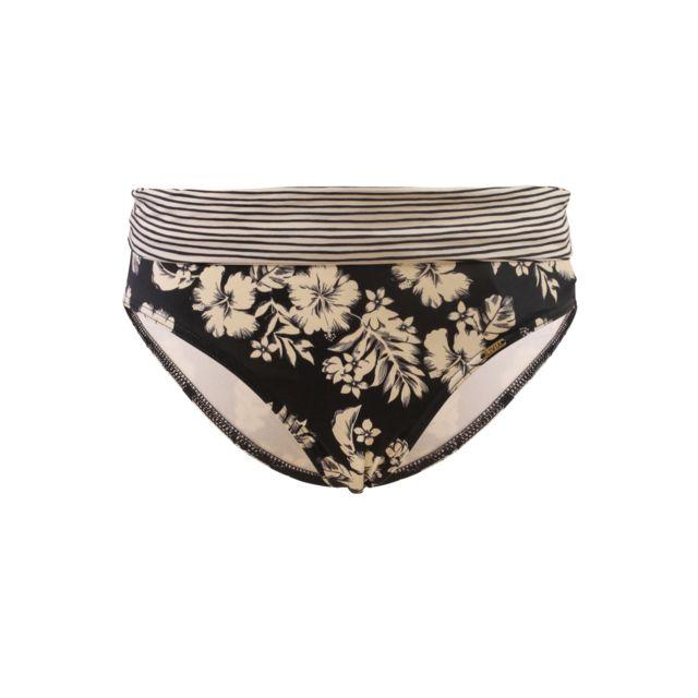 Livia - Bas de maillot de bain Culotte Revers Livia Hibiscus Andra Noir et  Beige 4101c407e90