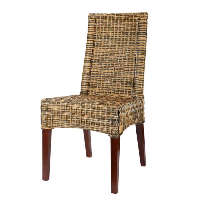 rotin design chaise desna en osier bicolore blond naturel et gris ardoise pas cher achat vente chaises rueducommerce - Chaise Rotin