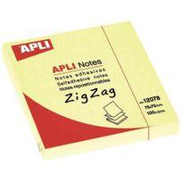 Apli - agipa - 12078 - bloc de 100 feuilles notes adhésives en zig zag - format 75x75mm - jaune