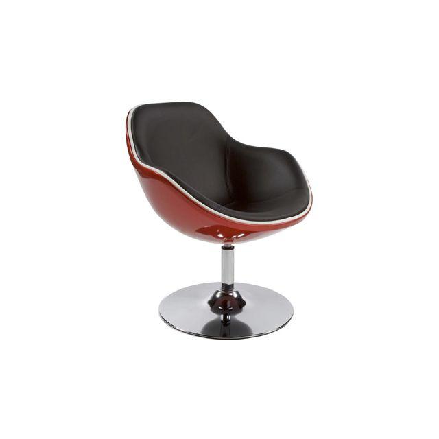 Fauteuil design 68x68x82,5cm Dayto - rouge et noir