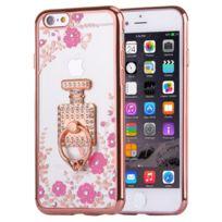 Wewoo - Coque Pour iPhone 6 et 6 s fleurs magenta et bouteilles de parfum motif diamant plaqué Tpu étui de protection avec support