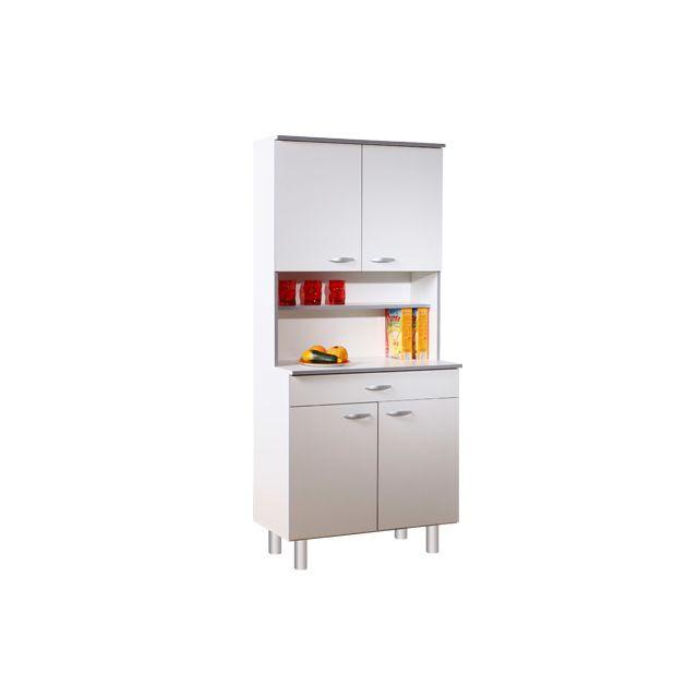 Buffet de cuisine 4 portes 80x44x181cm coloris blanc