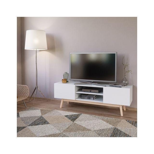 No Name Meuble Tv Home 140 cm 2 portes 1 niche / Blanc