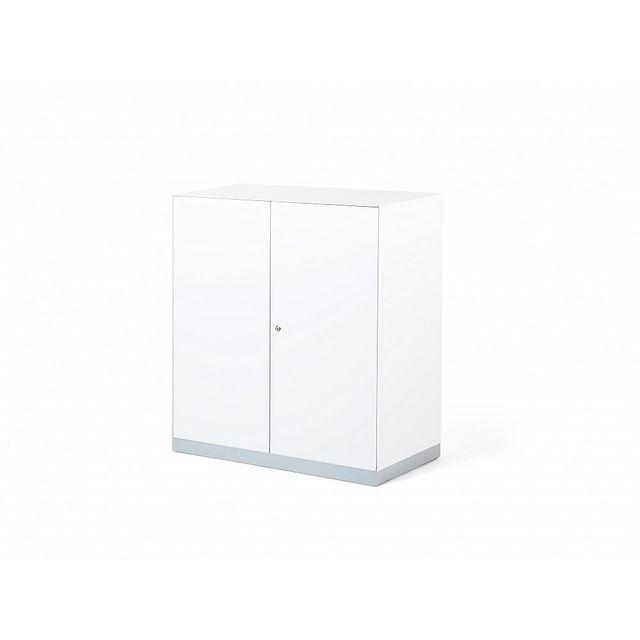 Beliani Meuble de rangement - armoire en métal blanc - Caspian