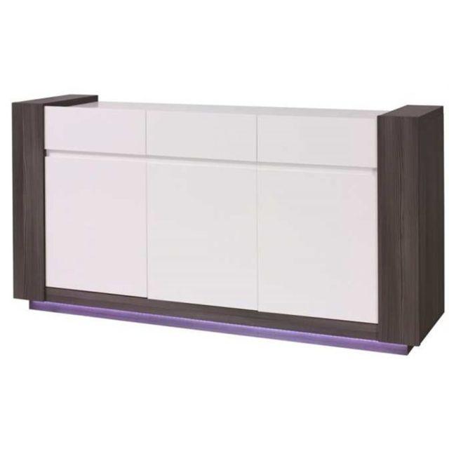 CHLOE DESIGN Bahut design + miroirs AUGUST - Bois et blanc - 173