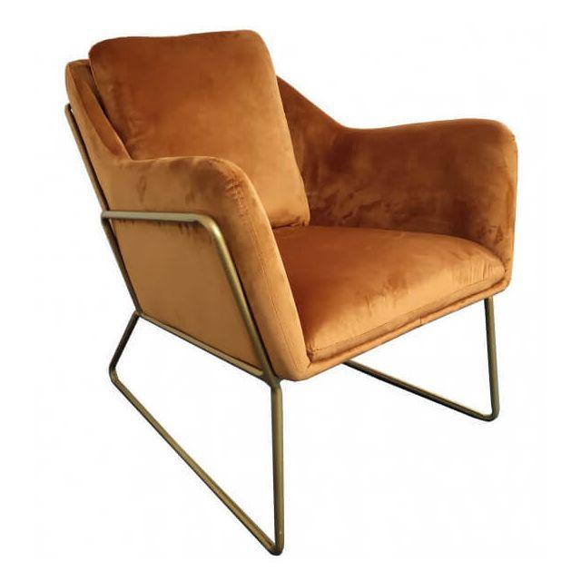 Mathi Design Golden - Fauteuil cosy en velours orange et métal doré