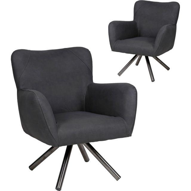 COMFORIUM Lot de 2 fauteuils design noir en pu avec piètement en acier inoxydable brossé