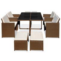 Salon de jardin de 9 pieces en 3 couleurs marron