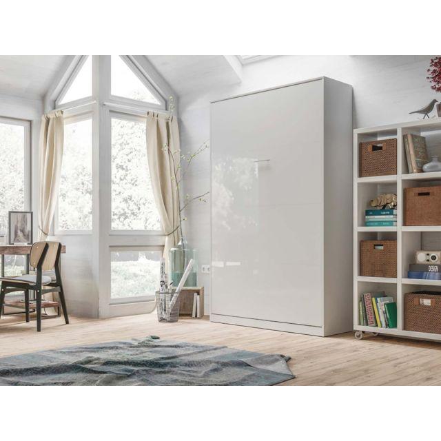 Lit Escamotable Basic 120x200 Verticale Blanc Blanc Brillant Avec Ressorts A Gaz Armoire Lit